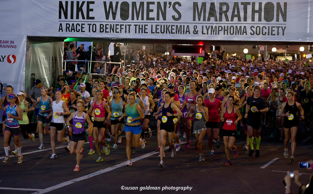 The eighth annual Nike Women's Marathon kicks off with over 22,00 runners in Union Square in San Francisco, Calif. Runners have raised $118 million over the last eight years to benefit The Leukemia & Lymphoma Society. Photo/Nike, Susan Goldman.