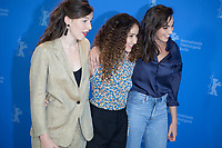 Louise Chevillotte, Oulaya Amamra and Souheila Yacoub at the photocall for the film The Salt of Tears (Le Sel des Larmes) at the 70th Berlinale International Film Festival, on Saturday 22nd February 2020, Hotel Grand Hyatt, Berlin, Germany. Photo credit: Doreen Kennedy