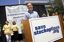 Palo Alto, CALIF. June 24, 2004--Rick White, the head of TechNet, an industry lobbying group addresses the rally  in opposition to stock option regulations outside Palo Alto City Hall, June 24, 2004 Photo by Kim Kulish