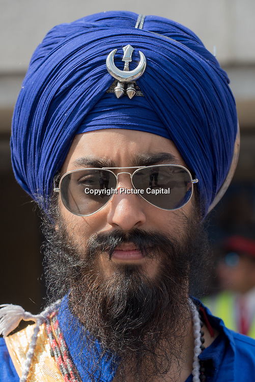 """Thousands rally in Trafalgar Square in London on June 3, 2018, for the annual Remembrance 1984 Sikh Genocide by the Indian army """"Operation Blue Star"""" mastermind by the MI5 slaughters thousands of unarmed Sikh men, women, and children and rape. The Sikh continues to seek justice 'never Forget' from the India government, in fact, the Sikh continues facing oppression by the Indian through this day and demand Khalistan Freedom an independent state."""