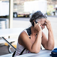 Diane Jones, a passenger on the Greyhound bus that was involved in a collision with a semi-truck on I-40 near Thoreau, New Mexico, Thursday, August 30, 2018.