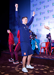 NANNING, CHINA - Saturday, March 24, 2018: Czech Republic's Tomáš Kalas plays Chinese whispers charades and acts out a cheerleader during a meet & greet event at the Nanning Wanda Mall during the 2018 Gree China Cup International Football Championship. (Pic by David Rawcliffe/Propaganda)