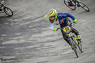 #34 during practice at the 2018 UCI BMX World Championships in Baku, Azerbaijan.