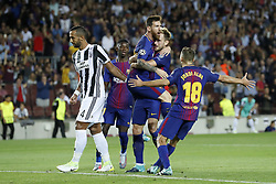 (L-R) Medhi Benatia of Juventus FC, Ousmane Dembele of FC Barcelona  Lionel Messi of FC Barcelona, Ivan Rakitic of FC Barcelona, Jordi Alba of FC Barcelona during the UEFA Champions League group D match between FC Barcelona and Juventus FC  on September 12, 2017  at the Camp Nou stadium in Barcelona, Spain.