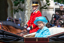© Licensed to London News Pictures. 09/06/2018. London, UK. Her Majesty Queen Elizabeth II at the Trooping the Colour ceremony in London to mark the 92nd birthday of Queen Elizabeth II, Britain's longest reigning monarch. Photo credit: Rob Pinney/LNP