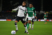 Derby County defender Jayden Bogle (37) on the ball during the EFL Sky Bet Championship match between Derby County and Sheffield Wednesday at the Pride Park, Derby, England on 11 December 2019.