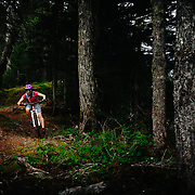 Heather Goodrich rides the Iditarod trail near Seward, Alaska.
