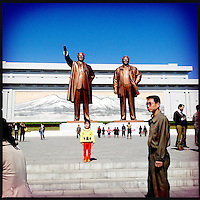 Gigantic bronze statues of Kim Il-sung and Kim Jong-il in Pyongyang, North Korea.