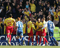 Photo: Lee Earle.<br /> Reading v Watford. The Barclays Premiership. 05/05/2007.Watford's Marlon King (3rdR) is congratulated after scoring their second goal.