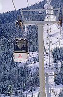 Whistler Gondola rises up Whistler Mountain in Whistler, BC Canada