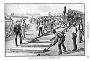 Laying sleepers and rails (permanent way) on the Transvaal Railway, Africa. Illustration published Paris 1893