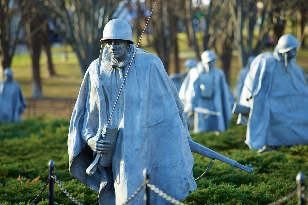 The haunting Korean War Veterans Memorial evoking a platoon on patrol. The life-like stares of these 19 statues will draw you in.
