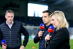 Sky Sports Pundit Kelly Kates (right) commentates on the pre-match action prior to the match kick off