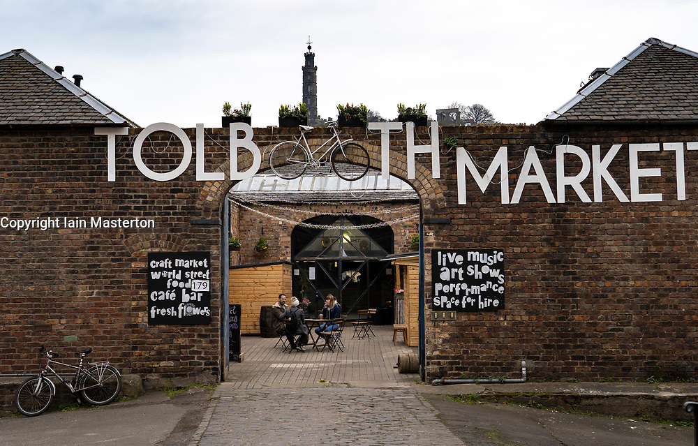 View of Tolbooth Market in Canongate, Edinburgh, Scotland UK