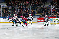 KELOWNA, CANADA - MARCH 16:  Lukas Svejkovsky #28 of the Vancouver Giants skates for the puck as Liam Kindree #26 of the Kelowna Rockets pursues on March 16, 2019 at Prospera Place in Kelowna, British Columbia, Canada.  (Photo by Marissa Baecker/Shoot the Breeze)