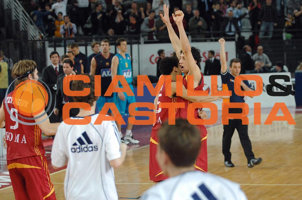 DESCRIZIONE : Roma Eurolega Top 16 2007-08 Lottomatica Virtus Roma Axa FC Barcellona <br /> GIOCATORE : Roko Ukic Ibrahim Jaaber<br /> SQUADRA : Lottomatica Virtus Roma<br /> EVENTO : Eurolega Top 16 2007-2008 <br /> GARA : Lottomatica Virtus Roma Axa FC Barcellona<br /> DATA : 12/03/2008 <br /> CATEGORIA : Esultanza<br /> SPORT : Pallacanestro <br /> AUTORE : Agenzia Ciamillo-Castoria/E. Grillotti