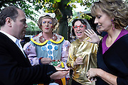 ALI KHADRA; GRAYSON PERRY; PHILLIPA PERRY; JULIA PEYTON-JONES, 2009 Serpentine Gallery Summer party. Sponsored by Canvas TV. Serpentine Gallery Pavilion designed by Kazuyo Sejima and Ryue Nishizawa of SANAA. Kensington Gdns. London. 9 July 2009.