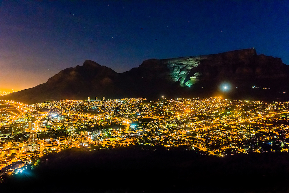 Skyline of Cape Town at night with Table Mountain behind, Cape Town, South Africa.