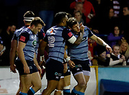 Cardiff Blues' Lloyd Williams celebrates scoring his sides second try<br /> <br /> Photographer Simon King/Replay Images<br /> <br /> Guinness PRO14 Round 15 - Cardiff Blues v Munster - Saturday 17th February 2018 - Cardiff Arms Park - Cardiff<br /> <br /> World Copyright © Replay Images . All rights reserved. info@replayimages.co.uk - http://replayimages.co.uk