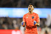 San Jose Earthquakes goalkeeper Daniel Vega (17) reacts to a San Jose goal during an MLS soccer match won by the Philadelphia Union 2-1, Wednesday, Sept. 25, 2019, in San Jose, Calif. (Peter Klein/Image of Sport)
