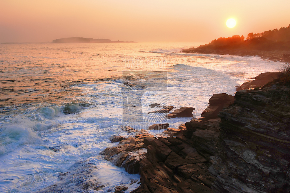 golden sunset on the Atlantic coastline of Maine