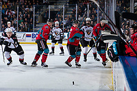 KELOWNA, CANADA - MARCH 16:  Mark Liwiski #9 and Ted Brennan #10 of the Kelowna Rockets look for the puck against the Vancouver Giantson March 16, 2019 at Prospera Place in Kelowna, British Columbia, Canada.  (Photo by Marissa Baecker/Shoot the Breeze)