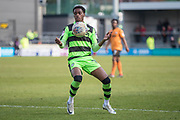 Forest Green Rovers Reece Brown(10) holds the ball up during the EFL Sky Bet League 2 match between Barnet and Forest Green Rovers at The Hive Stadium, London, England on 7 April 2018. Picture by Shane Healey.