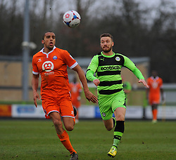 Forest Green Rovers's James Marwood and Braintree Town's Remy Clerima challenge for the ball - Photo mandatory by-line: Nizaam Jones - Mobile: 07966 386802 - 14/03/2015 - SPORT - Football - Nailsworth - The New Lawn - Forest Green Rovers v Braintree  - Vanarama Football Conference.
