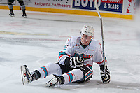 KELOWNA, CANADA - JANUARY 08: Cole Linaker #26 of Kelowna Rockets falls to the ice against the Everett Silvertips on January 8, 2016 at Prospera Place in Kelowna, British Columbia, Canada.  (Photo by Marissa Baecker/Shoot the Breeze)  *** Local Caption *** Cole Linaker;