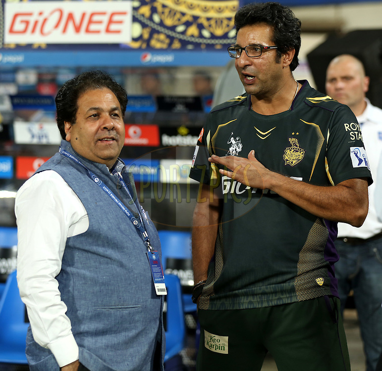 Rajeev Shukla chairman of Indian Premier League and Wasim Akram bowling coach during match 38 of the Pepsi IPL 2015 (Indian Premier League) between The Kolkata Knight Riders and The Sunrisers Hyderabad held at Eden Gardens Stadium in Kolkata, India on the 4th May 2015.<br /> <br /> Photo by:  Sandeep Shetty / SPORTZPICS / IPL