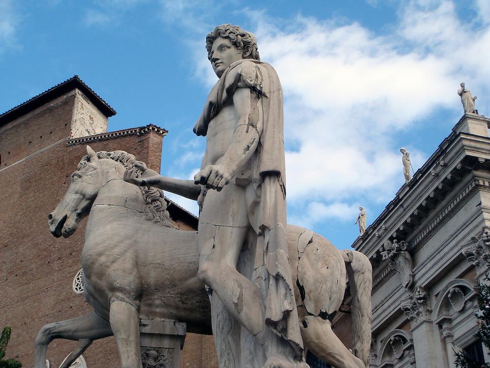 STATUE OF CASTOR AT CORONADA STAIRS PIAZZA DEL CAMPIDOGLIO, ROME ITALY