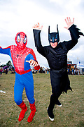 Spiderman and Batman at Global Gathering festival, Long Marston Airfield, Stoke on Trent, UK. 28/29 July 2006