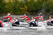 Cambridge, USA, Lightweight women's Eights, LW8+, racing side by side as the crew approach the Cambridge BC. during the  2009 Head of the Charles  Sunday  18/10/2009  [Mandatory Credit Peter Spurrier Intersport Images],.