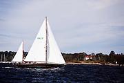 Goldeneye sailing in the Indian Harbor Classic Yacht Regatta.