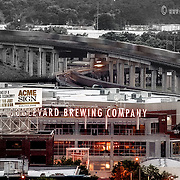 The Boulevard Brewery at sunrise with nearby moving trains