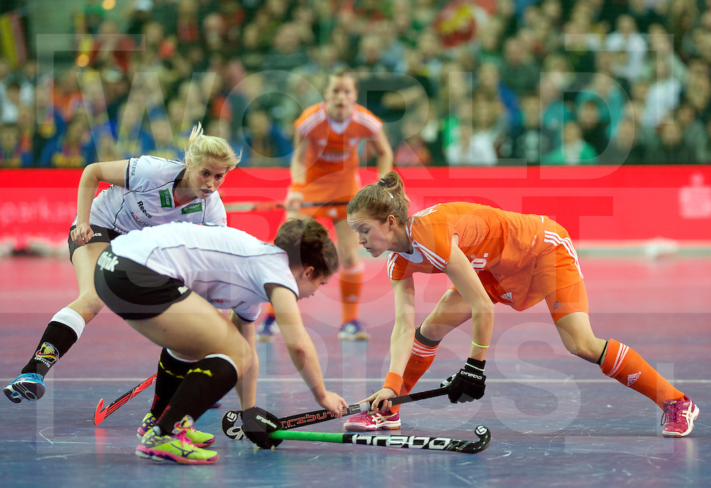 LEIZPIG - WC HOCKEY INDOOR 2015<br /> GER v NED (Final)<br /> Foto: ADMIRAAL Denise in dual with STEINDOR Luisa<br /> FFU PRESS AGENCY COPYRIGHT FRANK UIJLENBROEK