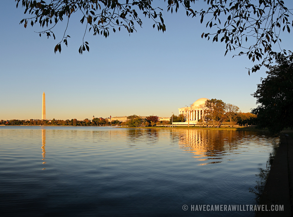 Jefferson Memorial and Washington Monument reflected on the Tidal Pool in Washington DC in the late afternoon sun