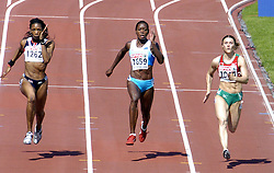 n/z.: Joice Maduaka (nr1262-Wielka Brytania), Merlene Ottey (nr1659-Slowenia), Alena Neumiarzytskaja (nr1044-Bialorus) podczas biegu na 100 m  podczas Mistrzostw Europy w lekkiej atletyce w Goeteborgu, Goeteborg , Szwecja , 08-08-2006 , fot.: Adam Nurkiewicz / mediasport..Joice Maduaka (nr1262-Great Britain), Merlene Ottey (nr1659-Slovenia), Alena Neumiarzhytskaya (nr1044-Belarus) during qualifications 100 m woman during EAA European Athletics Championships in Goteborg. August 08, 2005 ; Gothenburg , Sweden ( Photo by Adam Nurkiewicz / mediasport )