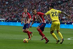 October 28, 2017 - Madrid, Spain - Gameiro, Correa and Soriano..Draw at 1 in Wanda Metropolitano stadium. (Credit Image: © Jorge Gonzalez/Pacific Press via ZUMA Wire)