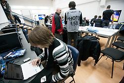 Media work room during  Preliminary Round of 10th EHF European Handball Championship Serbia 2012, on January 15, 2012 in Arena Pionir, Belgrade, Serbia.  (Photo By Vid Ponikvar / Sportida.com)