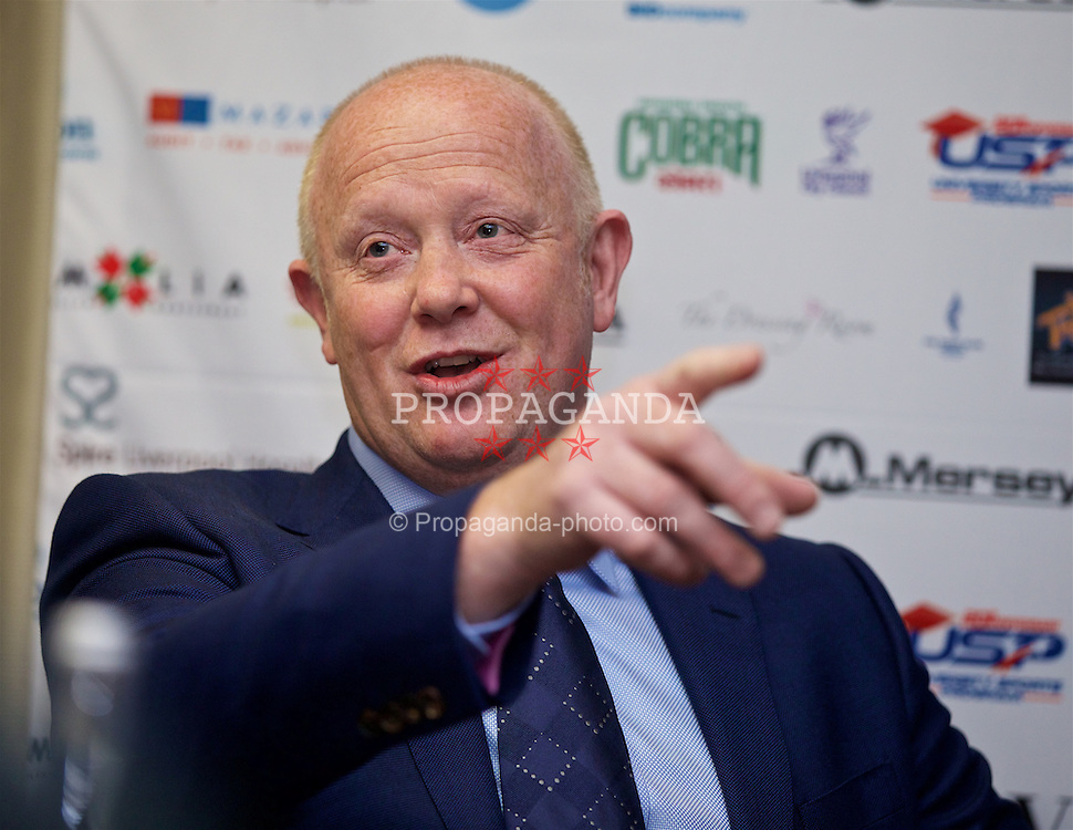 LIVERPOOL, ENGLAND - Monday, April 18, 2016: Former England and Liverpool captain and Tennis Ambassador Mark Wright during the launch of the 2016 Liverpool Hope University International Tennis Tournament at the Hilton Hotel. (Pic by David Rawcliffe/Propaganda)