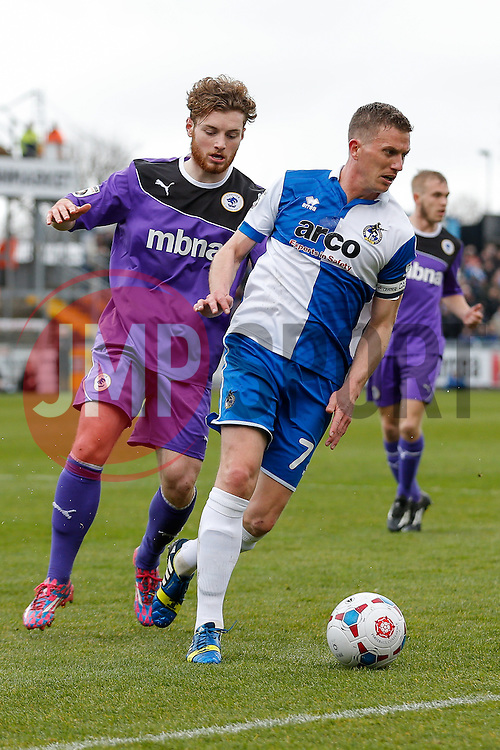 Lee Mansell of Bristol Rovers is challenged by Ryan Higgins of Chester - Photo mandatory by-line: Rogan Thomson/JMP - 07966 386802 - 03/04/2015 - SPORT - FOOTBALL - Bristol, England - Memorial Stadium - Bristol Rovers v Chester - Vanarama Conference Premier.