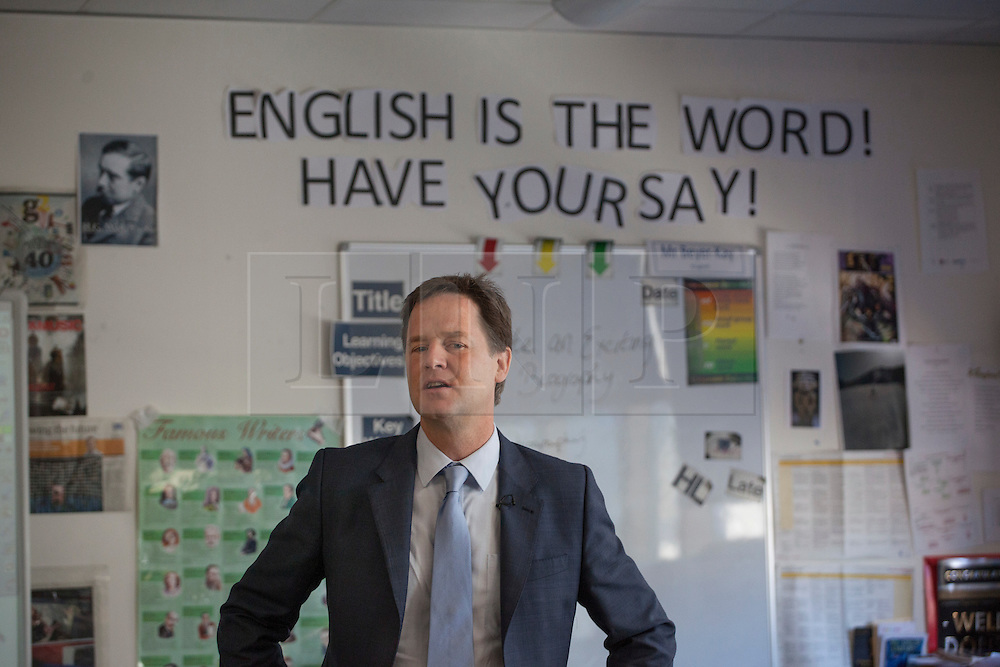 © licensed to London News Pictures. London, UK 23/07/2012. Deputy Prime Minister Nick Clegg today launched one of the first summer schools in London, to see how they are supporting those pupils most at risk from falling behind. Nearly 2,000 new summer schools open their classroom doors today to help some of the most disadvantaged pupils in England in the step up from primary to secondary school. Around 65,000 children are expected to benefit. Photo credit: Tolga Akmen/LNP