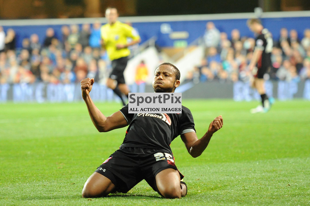 Carlisles Derek Asamoah celebrates putting his team ahead during Queens Park Rangers v Carlisle Captial One Cup 2nd round tie on Tuesday 25th August