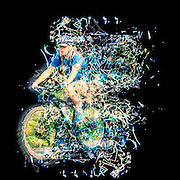 Riding is fun Enjoy life with a bicycle. Digitally manipulated with blazing trail