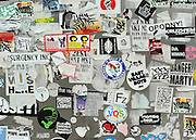 © licensed to London News Pictures. New York, USA  29/05/11.  Stickers in a shop doorway in the East Village. Photo credit should read Stephen Simpson/LNP