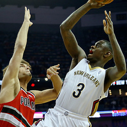 Dec 30, 2013; New Orleans, LA, USA; New Orleans Pelicans shooting guard Anthony Morrow (3) shoots over Portland Trail Blazers center Robin Lopez (42) during the first quarter of a game at the New Orleans Arena. Mandatory Credit: Derick E. Hingle-USA TODAY Sports