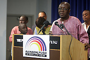 September 19, 2012- Queens, New York:  Former Prisoner Amadou Scattred Janneh at Jesse Jackson's Press Conference as a free man after being held as a prisoner in the Gambia, West Africa. Former Prisoner Amadou Scattred Janneh, a former Professor at the University of Tennessee, who held dual US Citizenship with the Gambia, was serving a life sentence for Treason. In addition to him, Tamsir Jessah, a U.S Citizen and former U.S. Military Veteran with dual citizenship with the West African nation was also serving a twenty-year sentence for Treason. With a face-to-face appeal by Rev. Jesse L. Jackson, with the Yayha Jammeh, President of The Gambia an agreement was made to release the two American citizens into Rev. Jackson's custody who allow them to return to the United States with Jackson Tuesday night.  The two men returned to the U.S. by plane with Rev. Jackson from The Gambia to joyfully grateful waiting family members. In addition, President Jammeh has agreed to extend the moritorium on executions indefinitely, marking a significant gain for Human Rights in the West African Nation on September 19, 2012. (Terrence Jennings)