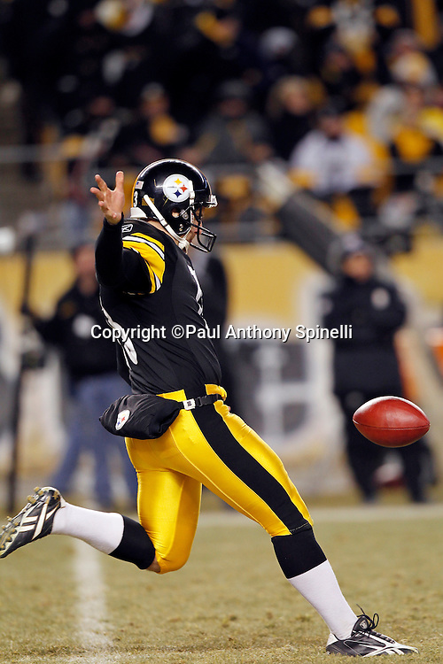 Pittsburgh Steelers punter Jeremy Kapinos (13) punts during the NFL 2011 AFC Championship playoff football game against the New York Jets on Sunday, January 23, 2011 in Pittsburgh, Pennsylvania. The Steelers won the game 24-19. (©Paul Anthony Spinelli)
