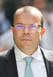 © Licensed to London News Pictures. 04/07/2017. London, UK. Financier Jeff Blue arrives at the High Court for the second day of his case. Newcastle FC owner Mike Ashley is in dispute with financial expert Jeff Blue over payments promised in relation to the share price of Sports Direct. Photo credit: Peter Macdiarmid/LNP